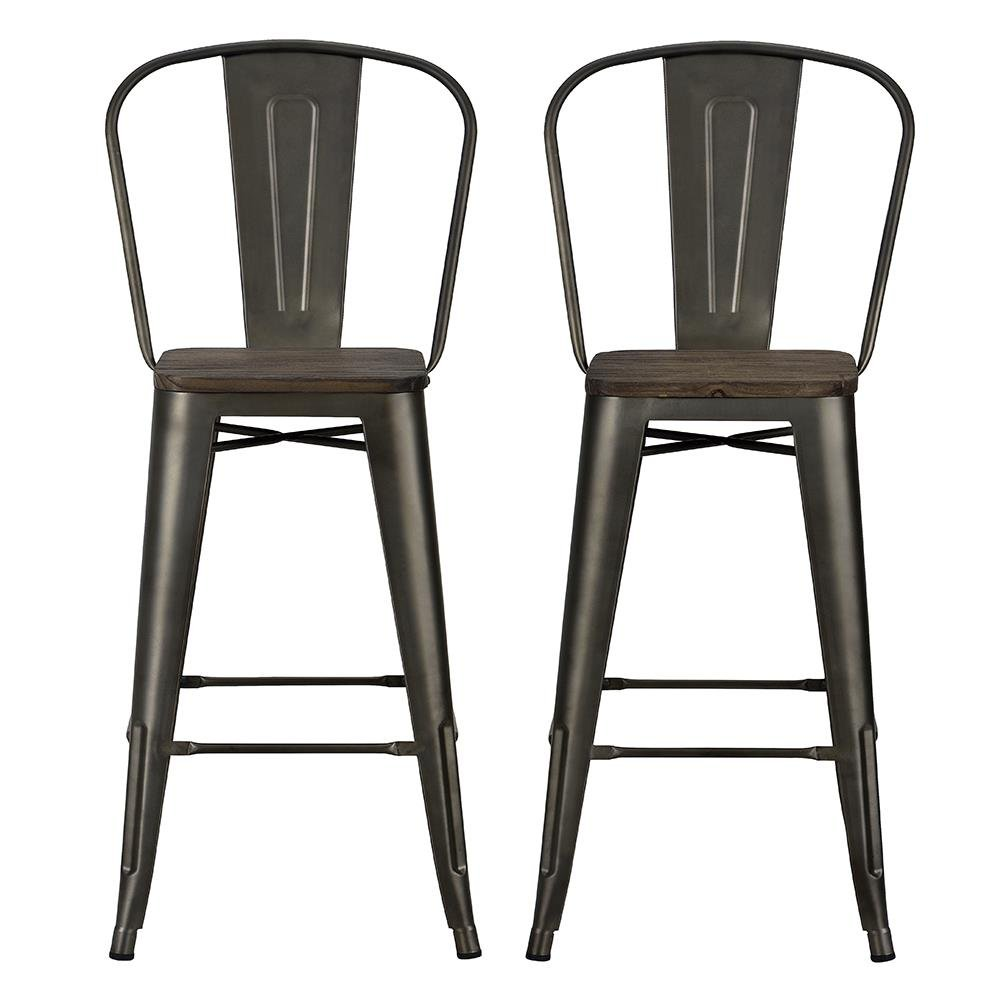 DHP Luxor Metal Counter Stool with Wood Seat and Backrest, Set of two, 30'', Antique Copper by DHP (Image #2)