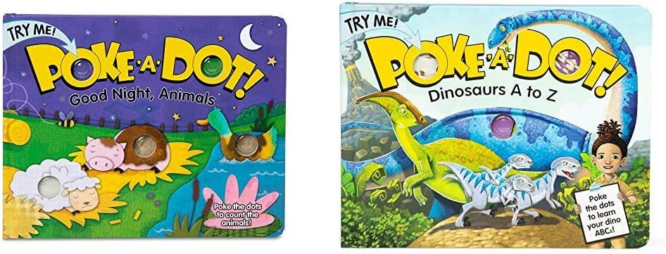 Melissa & Doug Children's Book - Poke-a-Dot: Goodnight, Animals (Board Book with Buttons to Pop) & Poke-a-Dot Book – Dinosaurs A to Z