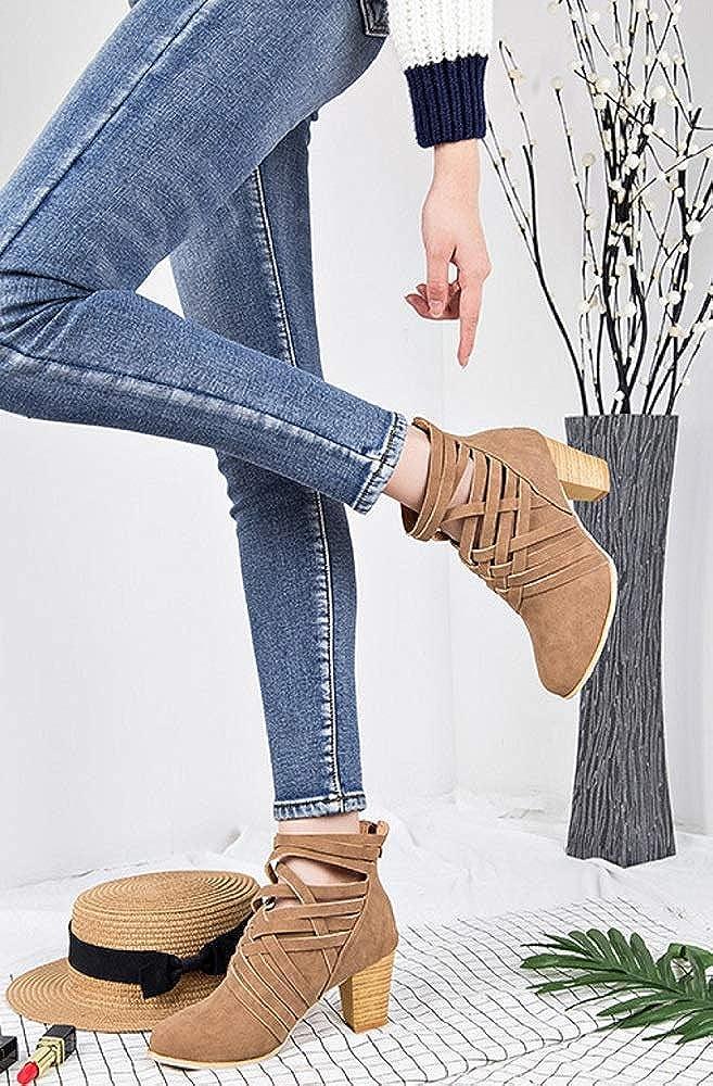 Mujer Cm Otoño Alto Tacon 7 Zapatos De Botas Cuero Botines PxqadCwa