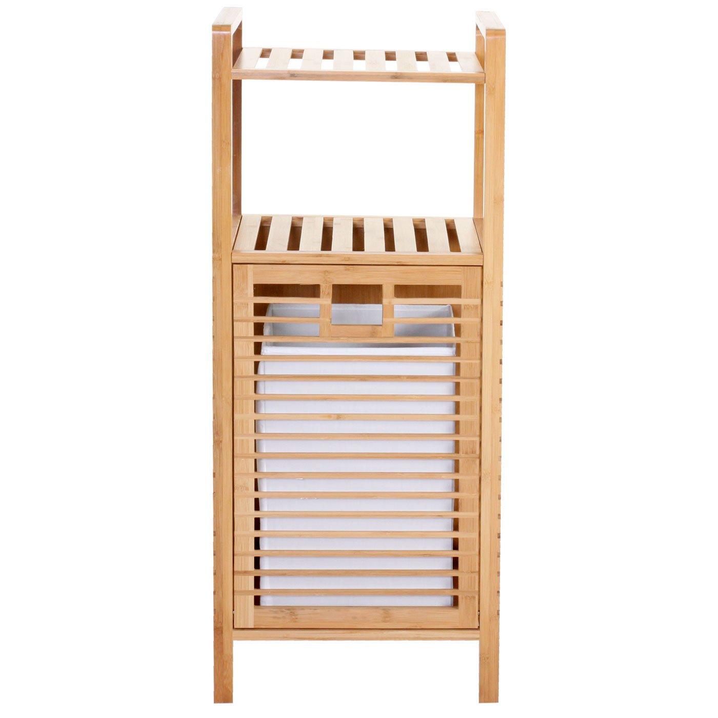 Good Badezimmer Regal Mit Waschekorb #2: Mendler Wäschekorb Narita, Badregal Mit Wäschefach, Bambus 100x40x30cm:  Amazon.de: Küche U0026 Haushalt