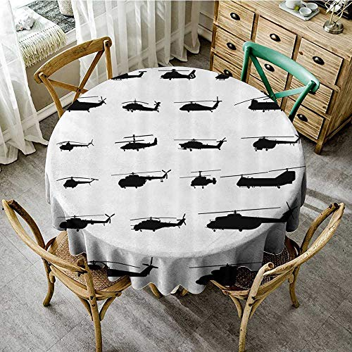 familytaste Round Tablecloths War Home Decor,Helicopter Battle in Air Sikorsky Chinook Iroquois Hawk Airforce Theme,Black White D 50