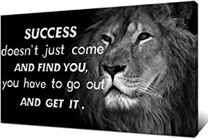 Artsbay Lion Canvas Wall Art Animal Painting Picture Motivational Success Quote Poster Print Black and White African Wildlife Artwork Print Framed for Office Living Room Decoration