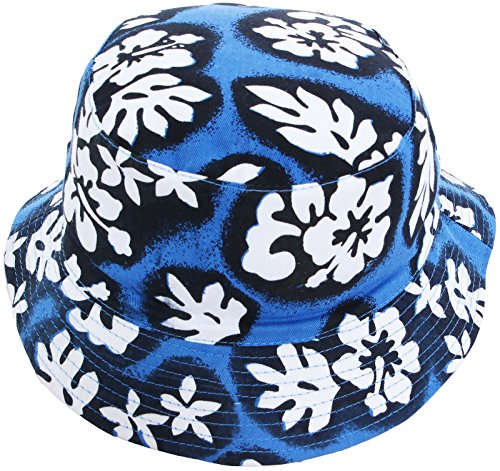 AshopZ Unisex Outdoors Reversible Hawaiian Floral Print Bucket Hat Royal Blue S 21.26 Inch