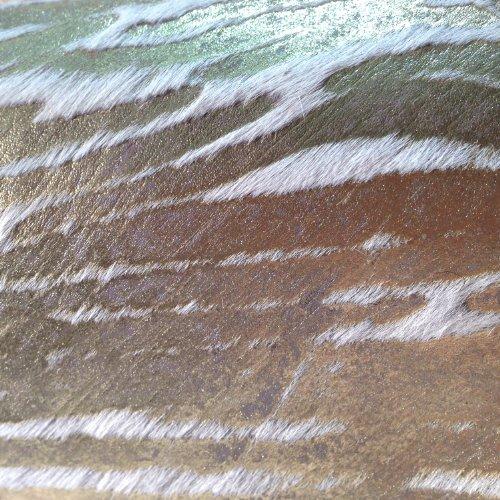 Größe Goldy Goldoptik 42 Kalbsfell Herrenpantoffel 46 in bedrucktes Unisex ZZwqY14