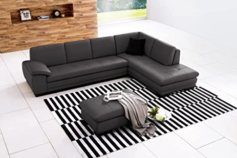 625 Italian Leather Sectional Grey in Right Hand Facing : amazon leather sectional - Sectionals, Sofas & Couches