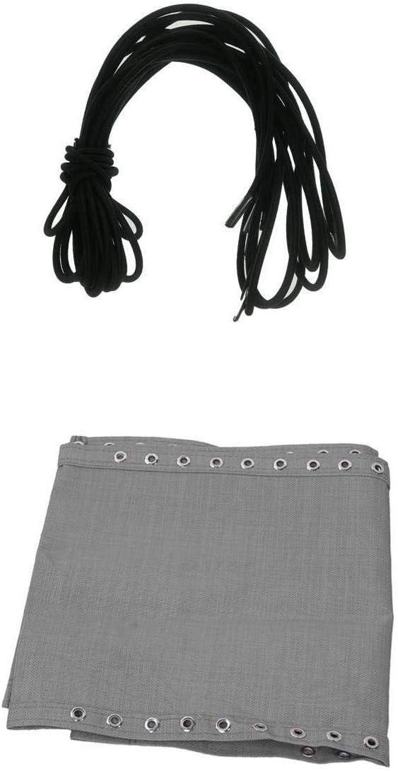 Fenteer 4 x Lazos Cordones Elásticos 1.35m + 2m + 1 x Paño Tela Durable 160X43cm para Silla Reclinable de Jardín Recambio de Accesorios - Gris