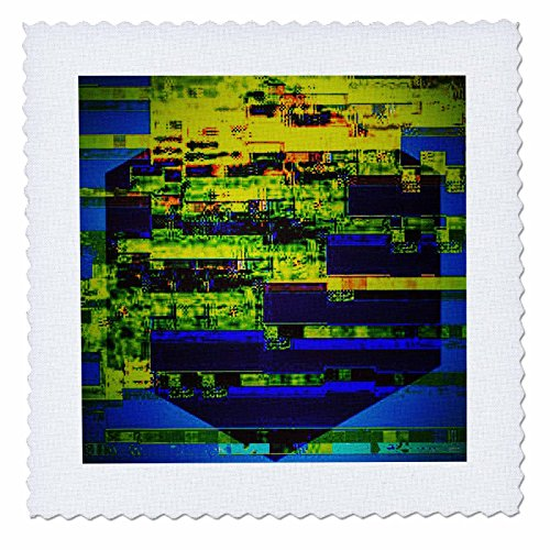 3dRose DYLAN SEIBOLD - PHOTO ABSTRACTION - Blue n Yellow Glitch Cube - 20x20 inch quilt square (qs_262774_8) - Digital Photo Cube