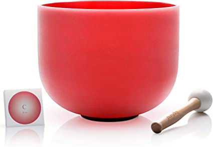 TOPFUND C Note Red Color Crystal Singing Bowl Root Chakra 10 inch with Heavy Duty Singing Bowl Carrying Case and Suede Striker and O-ring