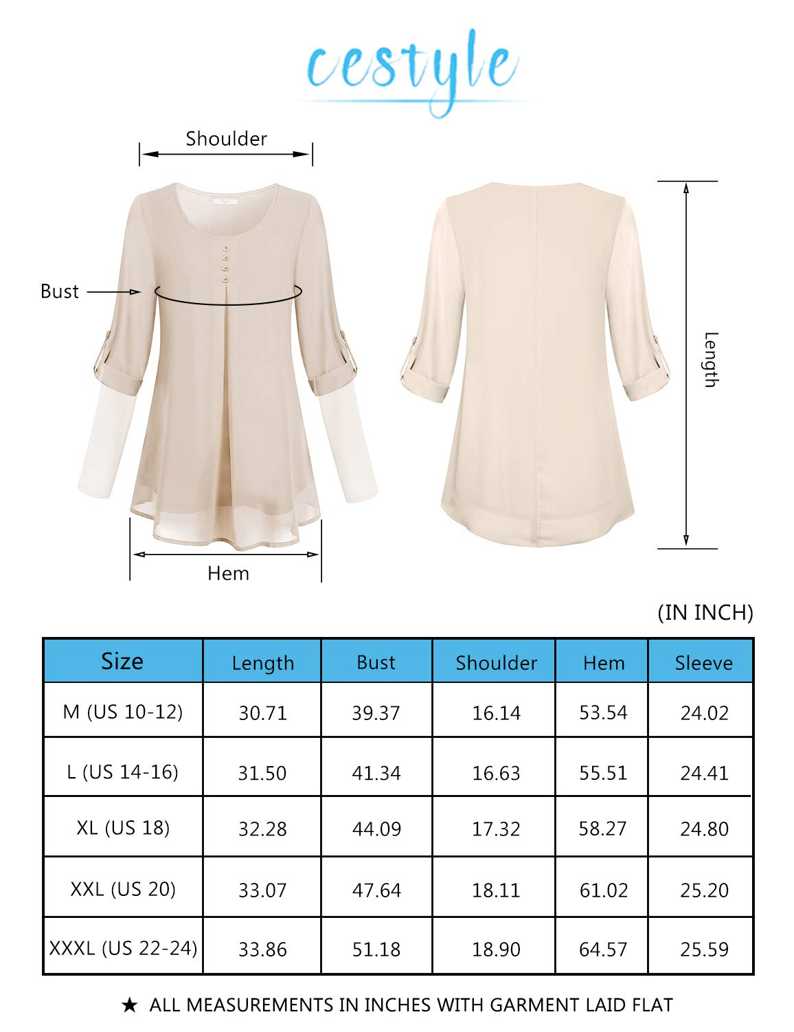 Cestyle Business Casual Tops For Women Juniors Sheer Rolled Up