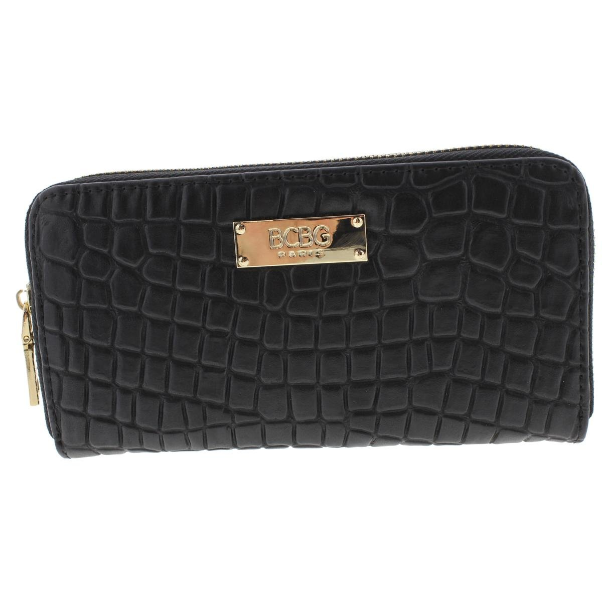 BCBG Womens Malibu Faux Leather Embossed Zip Around Wallet Black O/S