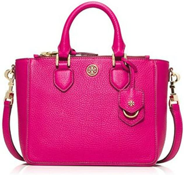 41d84cb8dbe Amazon.com  Tory Burch Robinson Pebbled Mini Square Tote Carnation Red  Fuschia Pink Leather Bag New  Shoes