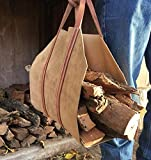 Leather Firewood Log Carrier Tote