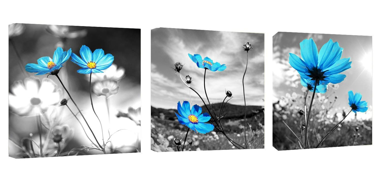 Canvas Wall Art Blue Dandelion Flowers Oil Painting Canvas Wall Art 12