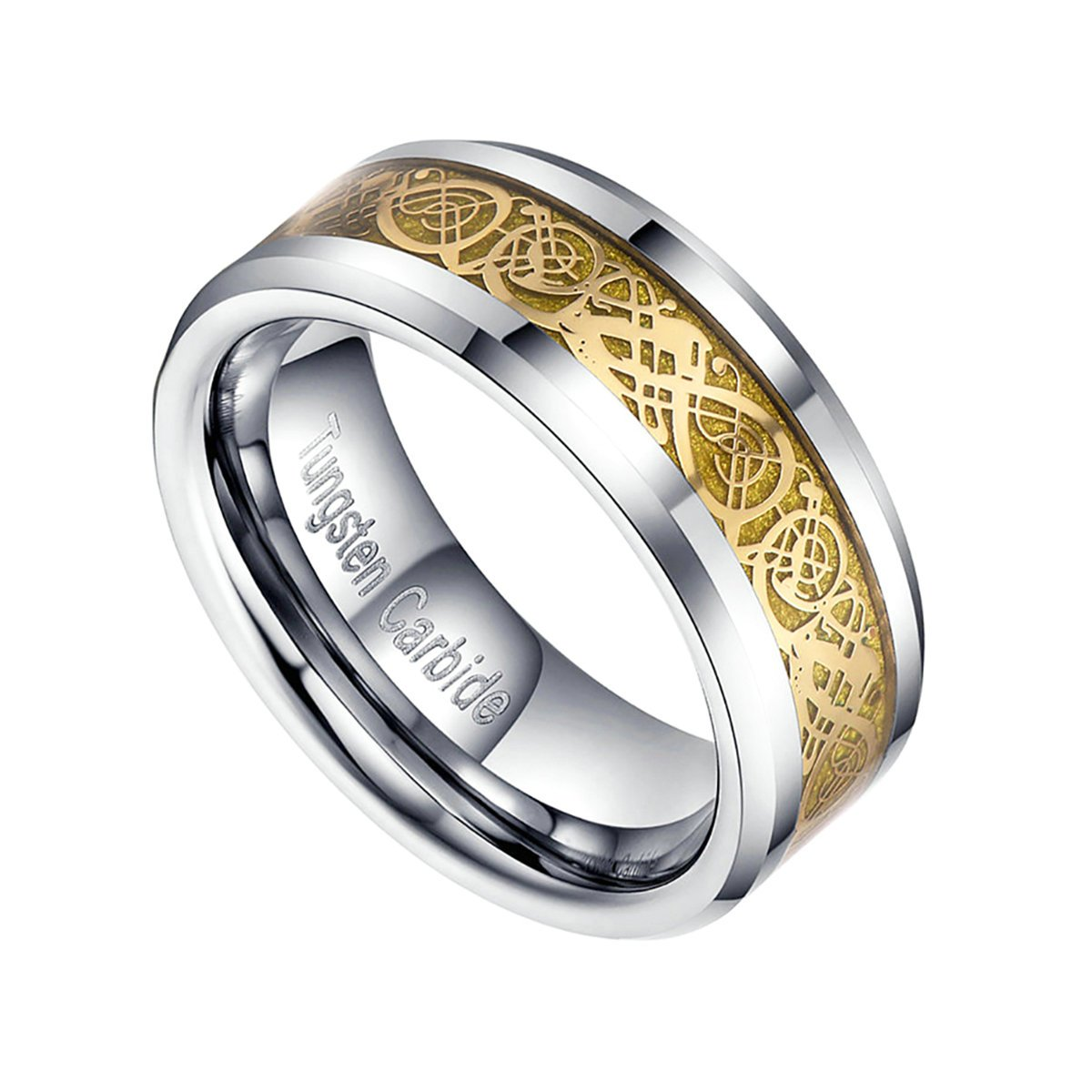 6mm//8mm Celtic Dragon Inlay Tungsten Couple Ring Engagement Wedding Band Men Women Rings