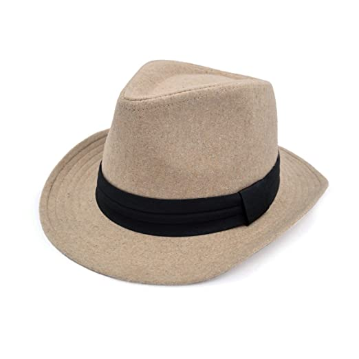 634d910afe091 Unisex Classic Solid Color Wide Brim Felt Fedora Hat w  Black Band ...