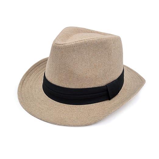 ae14e1918a9a1 Unisex Classic Solid Color Wide Brim Felt Fedora Hat w  Black Band ...