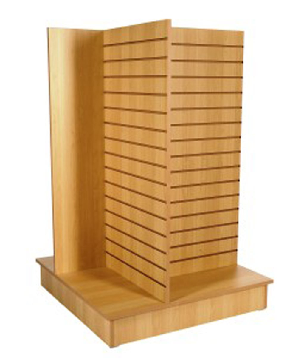 4-Way Slatwall Gondola Merchandise Display Retail Store Knockdown Maple 54''H New
