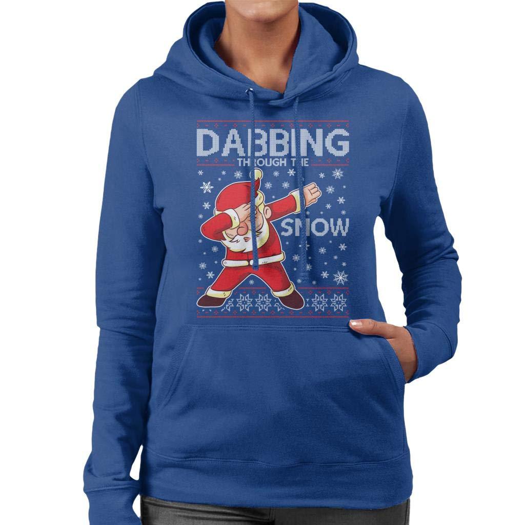 Coto7 Dabbing Through The Snow Santa Christmas Knit Pattern Womens Hooded Sweatshirt: Amazon.es: Ropa y accesorios