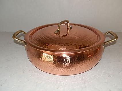 Olla de cobre esmaltado de cocina profesional, mango de bronce 26 cm