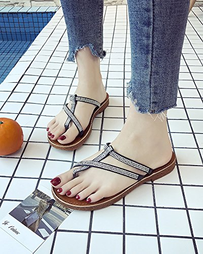 Sandals Bottom Black Sandals And Pregnant Soft Toe Slip Women'S Bottom Word Comfortable Fashion Female Women Flat Rhinestone Non Wild Slippers Toes Iwtq8xq