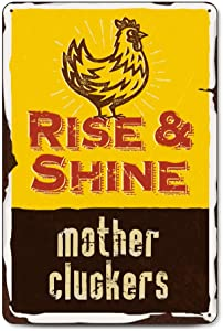 Chicken Décor Rise and Shine - Mother Cluckers Farm Décor Chicken Coop | Rooster Decorations for Kitchen Backyard Garage Man Cave She Shed Office Craft Room Living Room | Free Bonus Decals
