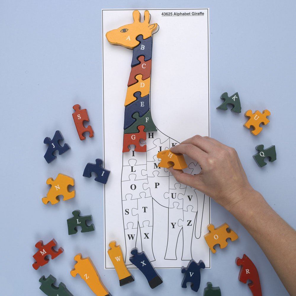 Wooden Alphabet Giraffe-Learn Letters and Numbers - Colorful, Non-Toxic Paint Melville Direct