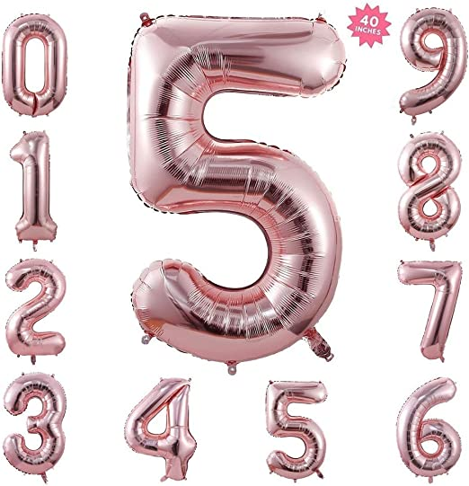 Rose Gold Number 1 40 Inch Rose Gold Jumbo Number 1 One Balloon Giant Large Balloons Foil Decorations Supplies for Birthday Party Wedding Shower Anniversary Engagement Photo Shoot Gift Accessories