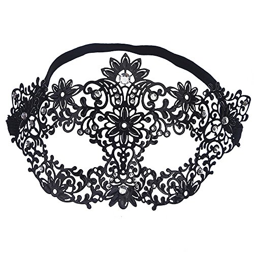 Rehoty Womens Masquerade Mask Metal Rhinestone Venetian Halloween Christmas Party Evening Prom Mask (Black Metal+Clear Stones) -