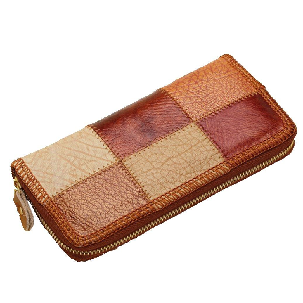 Hometomレディースレザーウォレットコインポケットメスクラッチ旅行財布  コーヒー B06Y69FP6Z