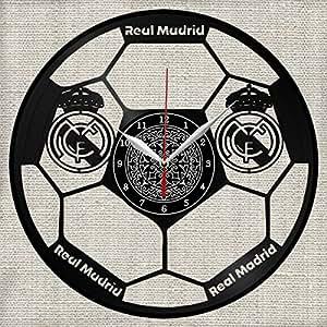 Real Madrid - Reloj de Pared de Vinilo, Hecho a Mano, Diseño único, Regalo Original: Amazon.es: Hogar