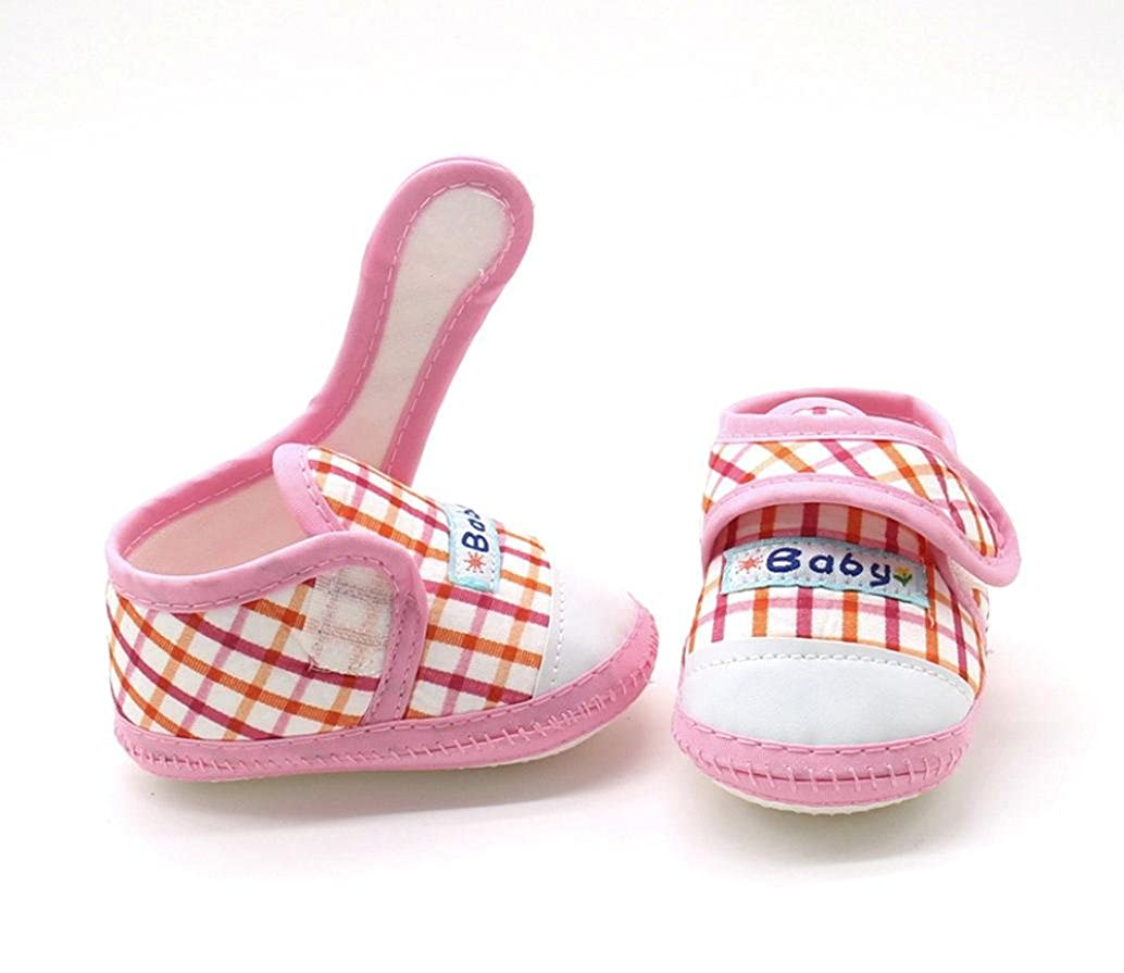 WARMSHOP 3~12 Months Girls Boys Baby Cotton Soft Sole Plaid Pattern Hook /& Loop Warm Casual Flats Shoes