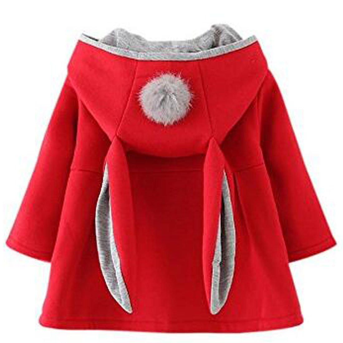 ARAUS Baby Girl Rabbit Ear Jacket Long Sleeve Button Down Ear Coat Toddler Kids Fall Winter Hoodie Outerwear