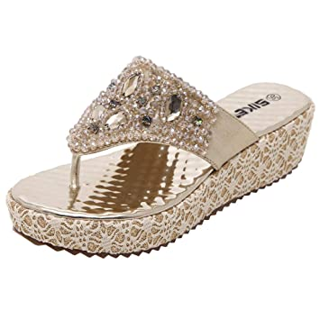 9bd89069c2bf Jiayit Special Easter Sale Women s Platform Wedge Slipper Summer Women  Slippers Rhinestone Beaded Wedge Flip-