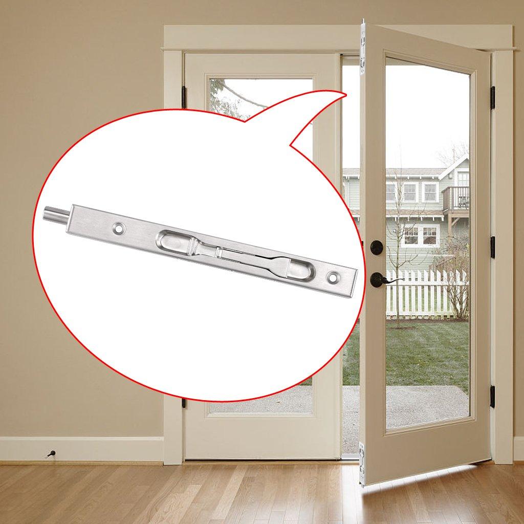 Sumnacon 2 Pcs Door Flush Bolt 8 Inch Concealed Security Door Lock for French Doors,Composite Doors,Wood Doors,Double Doors,Dummy Doors,Brush Stainless Steel Finish