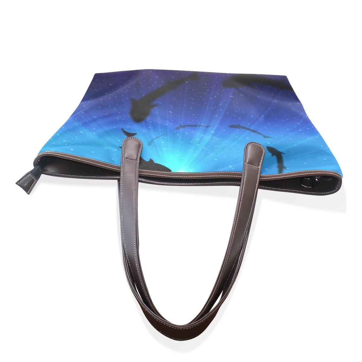 Shark Lady Handbag Tote Bag Zipper Shoulder Bag for Shopping Travel