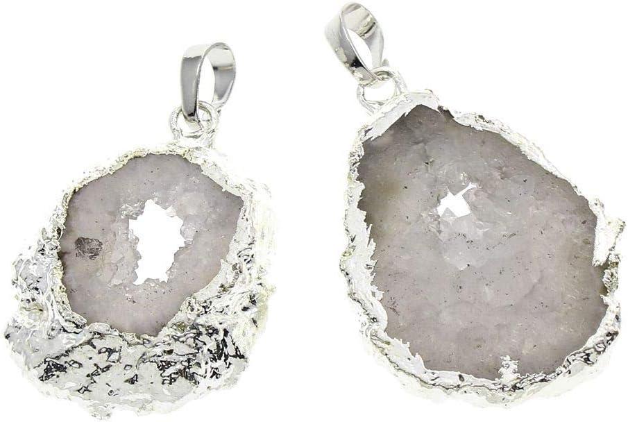 1pc Blanco Cristal de Plata Druzy Geode de Hielo de Cuarzo Ágata Natural de la piedra PRECIOSA Plateado Focal Colgantes de la Fianza de la Joyería Bohemia 25x33x6mm-26x37x7mm