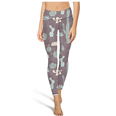 0e19bd5e6cc PLOKINC Yoga Capri Leggings for Womens Printed Yoga Abstract Cactus ...