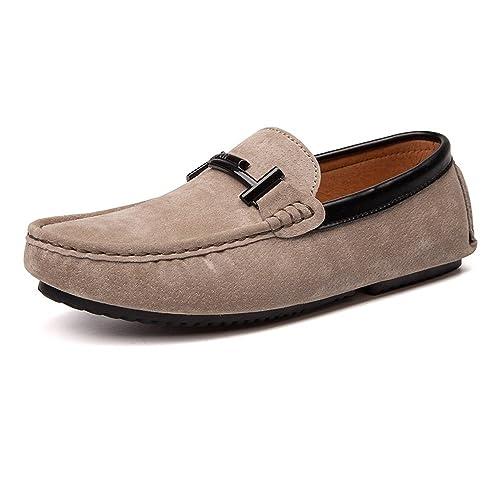 ZX Mocasines Zapatos, Interior y Exterior Mocasines de conducción Cuero Genuino Vamp Penny Mocasines de Suela Blanda para Hombres: Amazon.es: Zapatos y ...