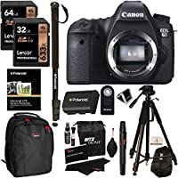 Canon 6D EOS 20.2 MP CMOS Digital SLR Camera Body Only + Lexar 64GB + 32GB Memory Card + Polaroid Tripod + Monopod + Ritz Gear Bag + Spare Battery + Cleaning Kit + Remote Control + Accessory Bundle Advantages Review Image