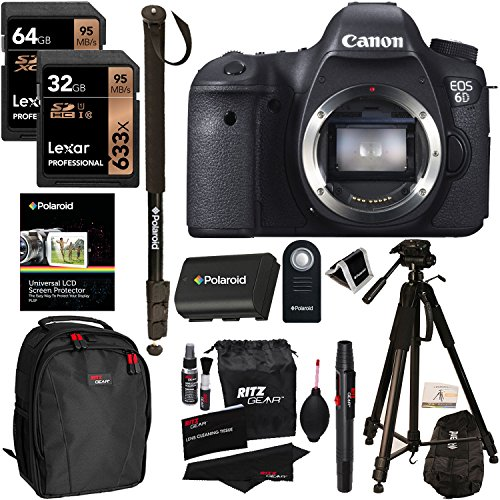 Canon 6D EOS 20.2 MP CMOS Digital SLR Camera Body Only + Lexar 64GB + 32GB Memory Card + Polaroid Tripod + Monopod + Ritz Gear Bag + Spare Battery + Cleaning Kit + Remote Control + Accessory Bundle