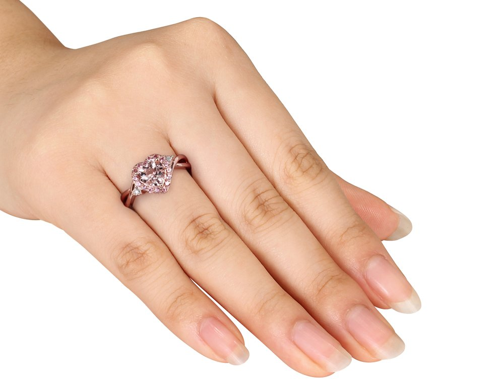 Morganite Heart Ring with Pink Tourmaline and Diamond in Rose Sterling Silver by Gem And Harmony (Image #3)