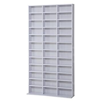 HOMCOM CD / DVD Storage Shelf Rack Media Storage Unit Shelves Racks Wooden  Shelf Bookcase Display