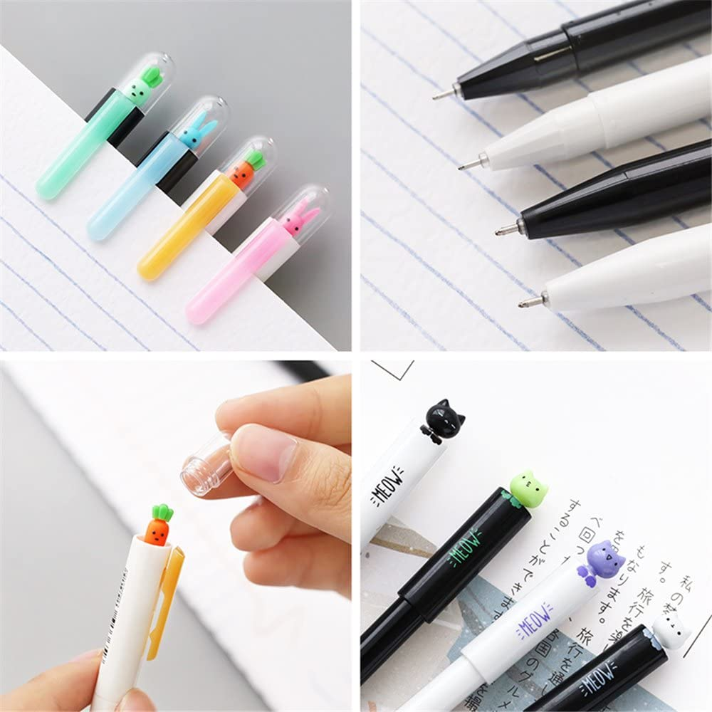 Cute Kawaii Animal Carrot and rabbit cat Shape Gel Ink Pens school office supplies for girls Stationery novelty pens for kids stationary Gift 4