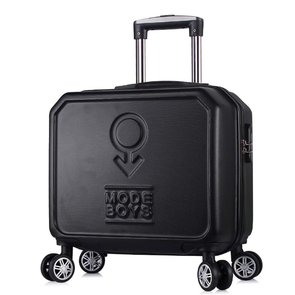 ZHAOSHUHLI 小型スーツケースユニバーサルホイールスーツケース女性16インチトロリーケース男性と女性搭乗ミニパスワードボックス (Color : Black) B07R1LV4HV Black