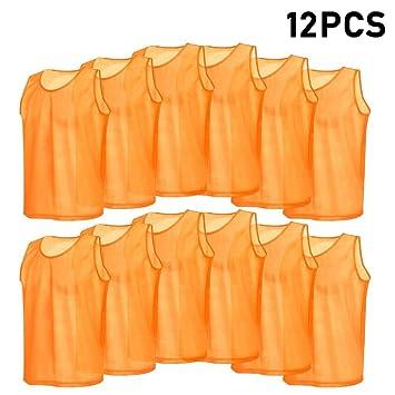 VGEBY 12pcs Petos de Entrenamiento Malla Petos de Fútbol para Adultos (Color    Naranja)  Amazon.es  Deportes y aire libre 1325bbe0689