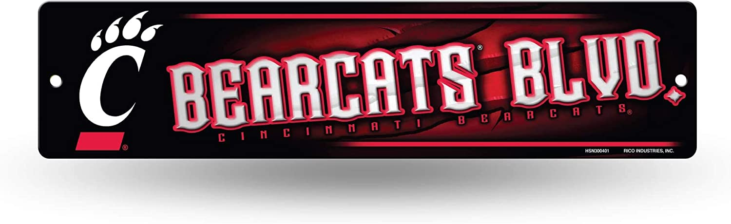 NCAA Rico Industries16-Inch Plastic Street Sign Décor, Cincinnati Bearcats