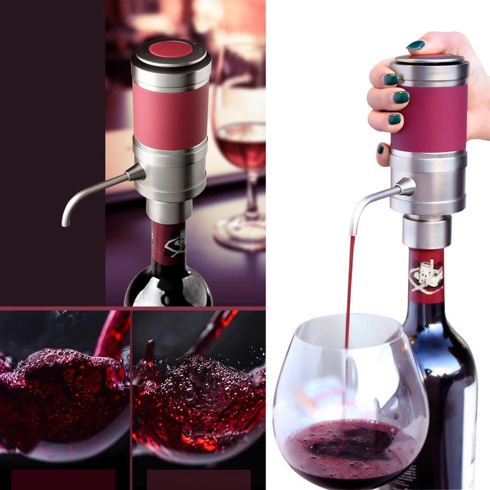 Electric Wine Aerator Dispenser Pump Air Decanter Diffuser System for Red and White Wine w// Unique Metal Pourer Spout NutriChef PSLWPMP50 Portable and Automatic Bottle Breather Tap Machine