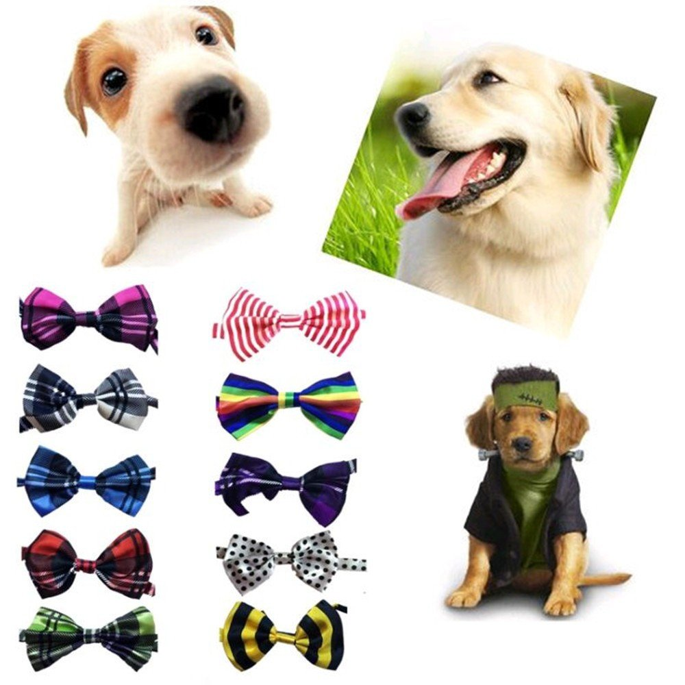 Lebbeen 10pcs/pack,Pet Dog Bow Tie Collar,Adjustable Pet Cat Dog Bow Ties Bowties,Grooming Accessories by Lebbeen (Image #2)