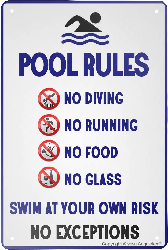 Angeloken New Metal Tin Sign Retro Vintage Pool Rules-No Diving No Running No Food No Glass-Aluminum Sign for Home Coffee Wall Decor 8x12 Inch