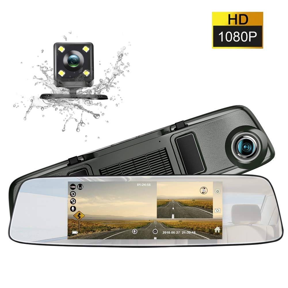 junsun Mirror Dash cam 6.86 inch Touch Screen in-Mirror Video 1080P Dual Dashboard Camera with Loop Recording Night-Mode and HD Waterproof Rear View Camera
